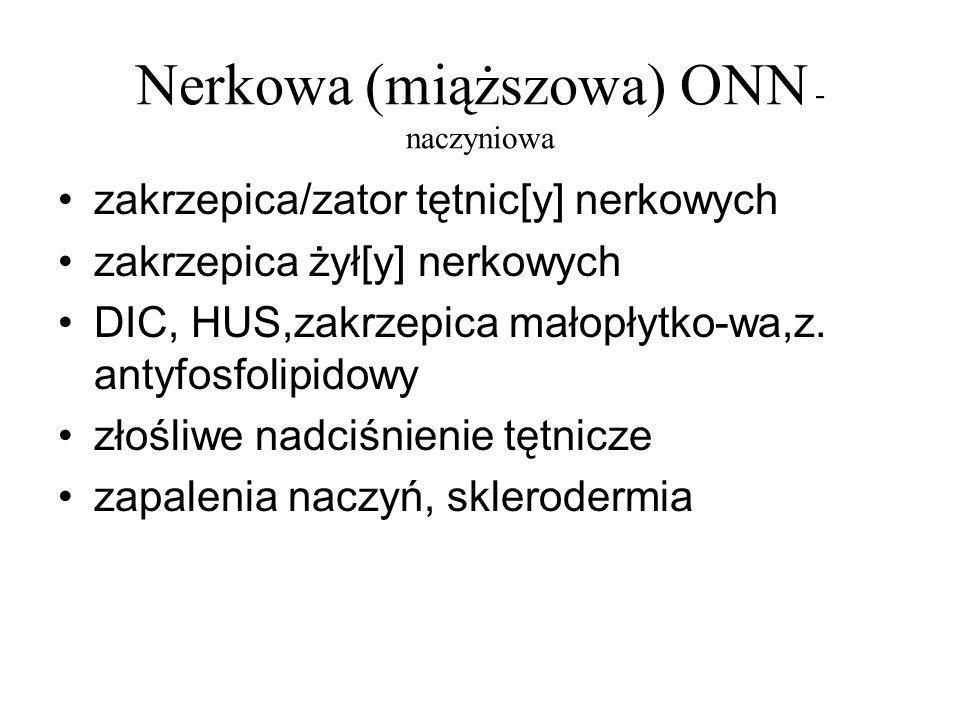 Nerkowa (miąższowa) ONN - naczyniowa zakrzepica/zator tętnic[y] nerkowych zakrzepica żył[y] nerkowych DIC, HUS,zakrzepica małopłytko-wa,z. antyfosfoli