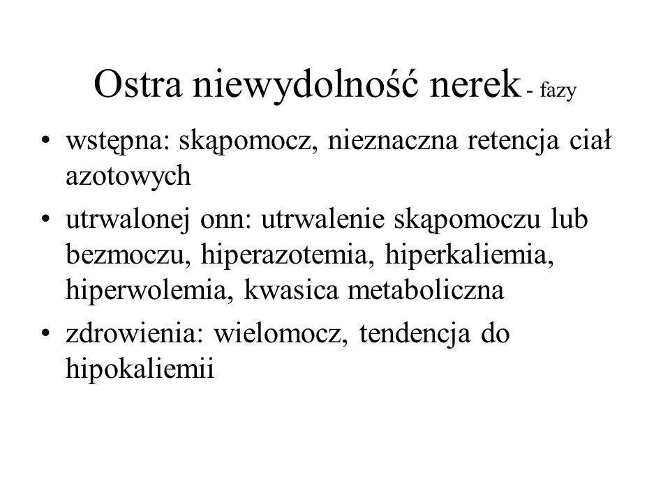 Ostra niewydolność nerek - fazy wstępna: skąpomocz, nieznaczna retencja ciał azotowych utrwalonej onn: utrwalenie skąpomoczu lub bezmoczu, hiperazotemia, hiperkaliemia, hiperwolemia, kwasica metaboliczna zdrowienia: wielomocz, tendencja do hipokaliemii