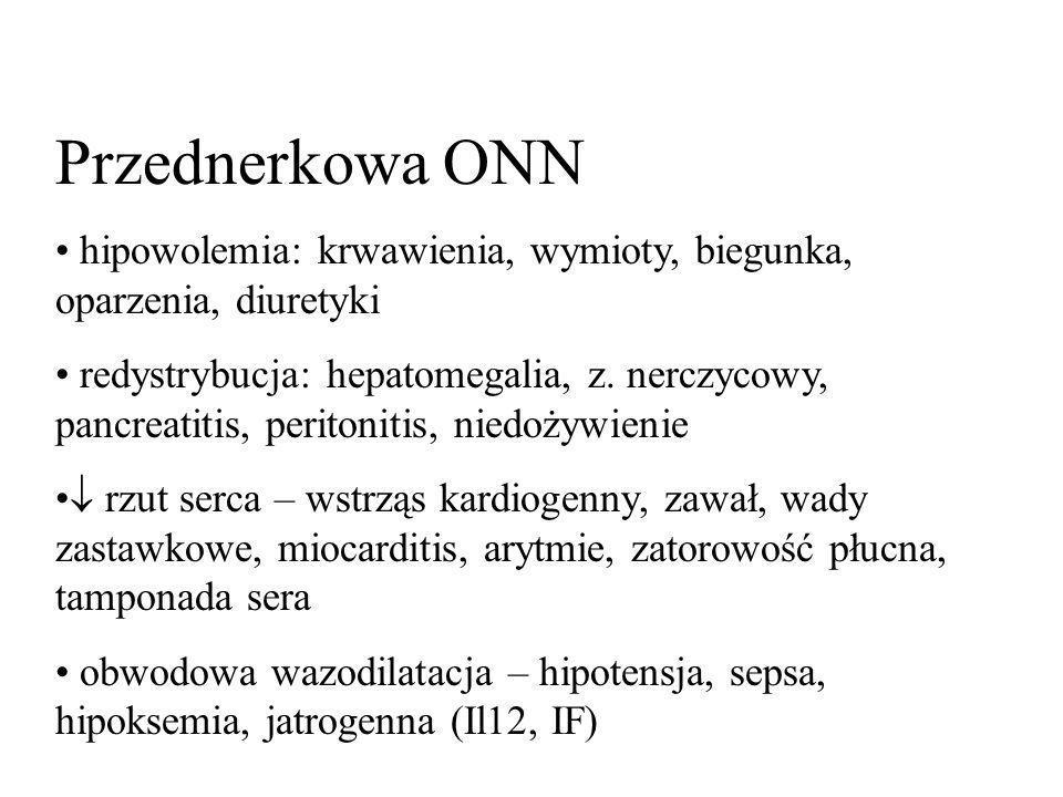 Przednerkowa ONN hipowolemia: krwawienia, wymioty, biegunka, oparzenia, diuretyki redystrybucja: hepatomegalia, z. nerczycowy, pancreatitis, peritonit