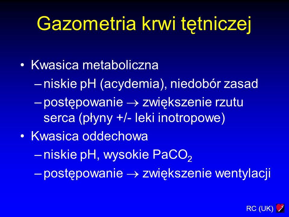 RC (UK) Gazometria krwi tętniczej Kwasica metaboliczna –niskie pH (acydemia), niedobór zasad –postępowanie zwiększenie rzutu serca (płyny +/- leki ino