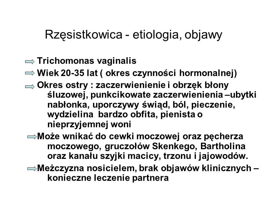 Rzęsistkowica - etiologia, objawy Trichomonas vaginalis Wiek 20-35 lat ( okres czynności hormonalnej) Okres ostry : zaczerwienienie i obrzęk błony ślu