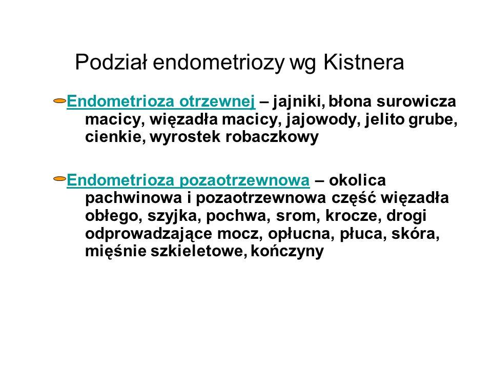 Podział endometriozy wg Semma Endometriosis genitalis interna – mięśnia macicy (adenomyosis), w mięśniakach macicy (adenomyoma), jajowodów wewnętrzna, endometriosis tubae isthmica nodosa Endometriosis genitalis externa – jajnika wewnetrzna i zewnętrzna, więzadeł macicy, części pochwowej szyjki macicy, sklepień pochwy, odbytniczo-szyjkowa, zatoki odbytniczo-macicznej i pęcherzowo-macicznej, pochwy, krocza Endometriosis extragenitalis – esicy, odbytnicy, kątnicy i wyrostka robaczkowego, jelita cienkiego, pęcherza moczowego, pępka, blizny po laparotomii, sieci, kanału udowego, opłucnej i płuc, mięśni szkieletowych, kończyn
