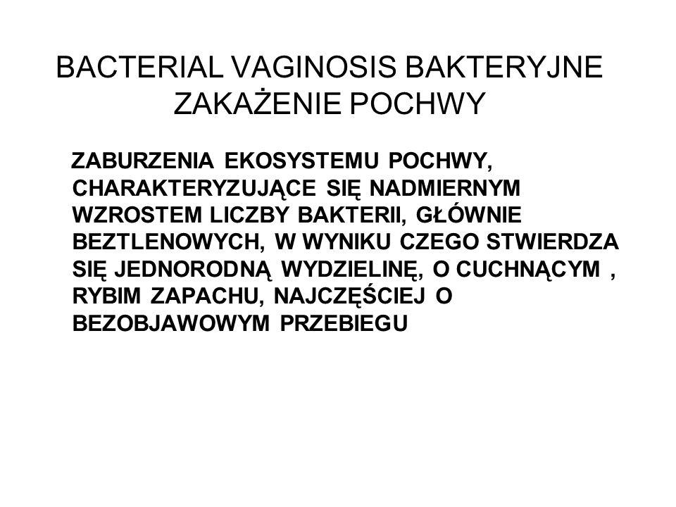 BACTERIAL VAGINOSIS mechanizm powstawania zanik kolonii Lactobacillus rozmnażanie się bakterii (Gardnerella vaginalis, Mycoplasma hominis, Mobiluncus spp., bakterie beztlenowe) N : BT/BbT = 2/5 (10 7 ) BV : BT/BbT = 1/10 (10 9 ) amin (aminopeptydazy, dekarboksylazy), pH pochwy >4.5 stan prawidłowy BV drożdżyca rzęsistkowica