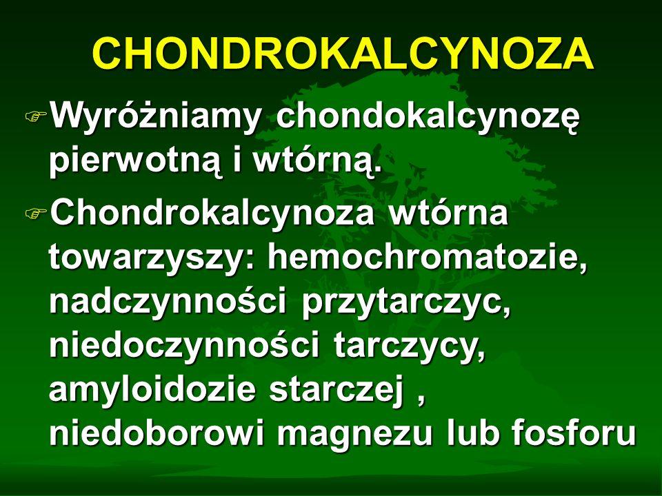 CHONDROKALCYNOZA Charakterystyczny jest obraz radiologiczny chondrokalcynozy : obecność linijnych lub punkcikowatych zwapnień w chąstkach szklistych i włóknistych, ścięgnach, więzadłach, torebkach i błonie maziowej zajętych stawów.