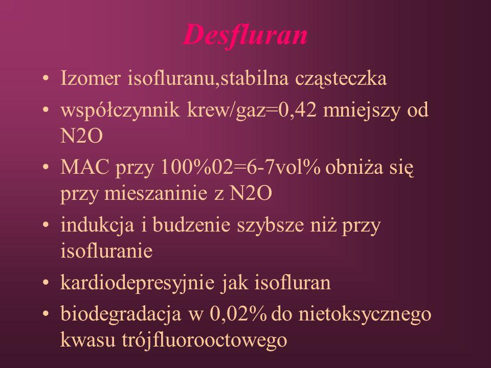 Desfluran Izomer isofluranu,stabilna cząsteczka współczynnik krew/gaz=0,42 mniejszy od N2O MAC przy 100%02=6-7vol% obniża się przy mieszaninie z N2O i