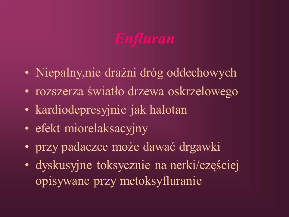 Enfluran Niepalny,nie drażni dróg oddechowych rozszerza światło drzewa oskrzelowego kardiodepresyjnie jak halotan efekt miorelaksacyjny przy padaczce