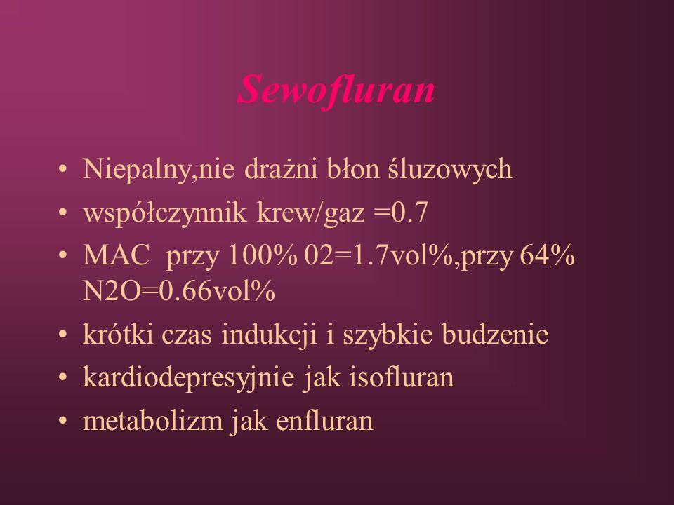Sewofluran Niepalny,nie drażni błon śluzowych współczynnik krew/gaz =0.7 MAC przy 100% 02=1.7vol%,przy 64% N2O=0.66vol% krótki czas indukcji i szybkie