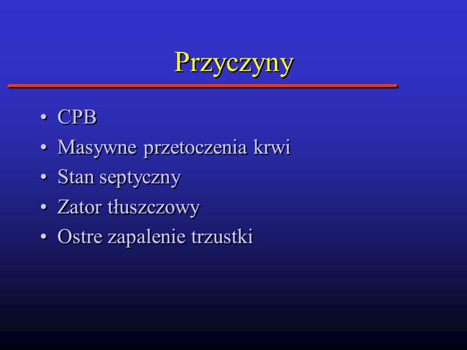 Przyczyny CPB Masywne przetoczenia krwi Stan septyczny Zator tłuszczowy Ostre zapalenie trzustki CPB Masywne przetoczenia krwi Stan septyczny Zator tł