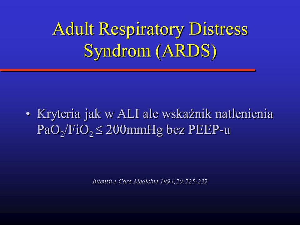 Adult Respiratory Distress Syndrom (ARDS) Kryteria jak w ALI ale wskaźnik natlenienia PaO 2 /FiO 2 200mmHg bez PEEP-u Intensive Care Medicine 1994;20: