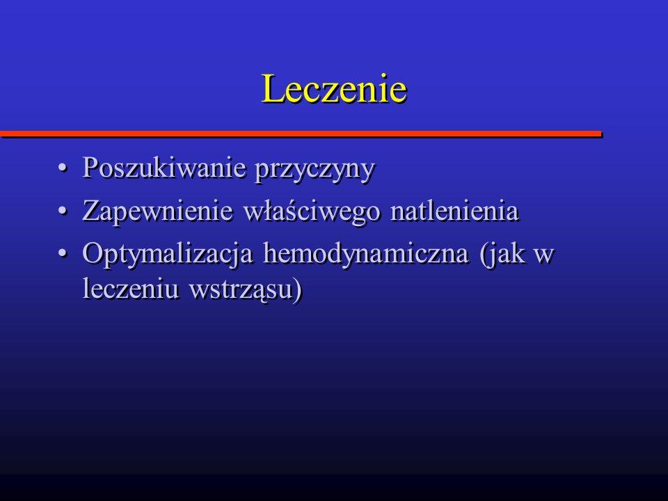 Leczenie Poszukiwanie przyczyny Zapewnienie właściwego natlenienia Optymalizacja hemodynamiczna (jak w leczeniu wstrząsu) Poszukiwanie przyczyny Zapew
