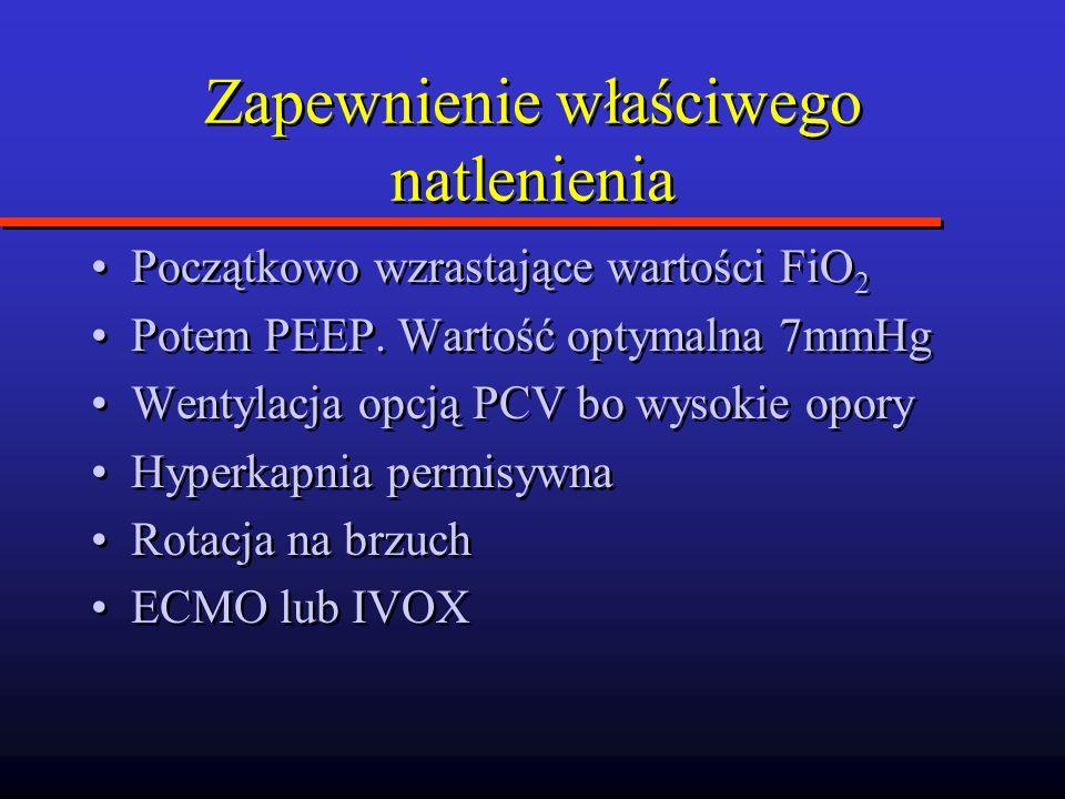 Zapewnienie właściwego natlenienia Początkowo wzrastające wartości FiO 2 Potem PEEP. Wartość optymalna 7mmHg Wentylacja opcją PCV bo wysokie opory Hyp