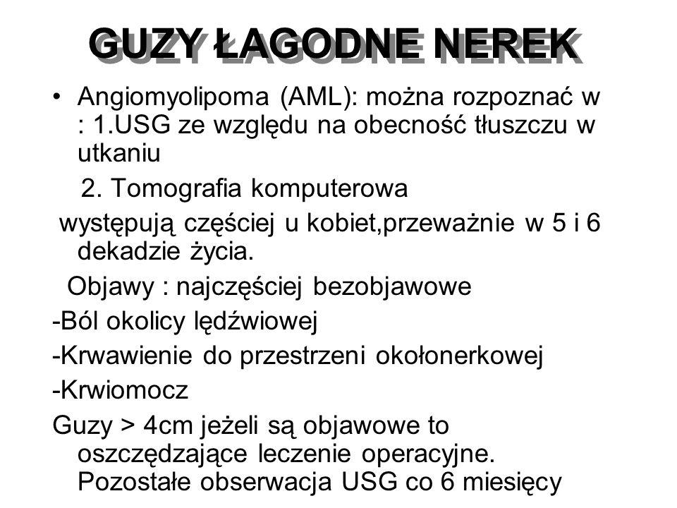GUZY ŁAGODNE NEREK Angiomyolipoma (AML): można rozpoznać w : 1.USG ze względu na obecność tłuszczu w utkaniu 2. Tomografia komputerowa występują częśc