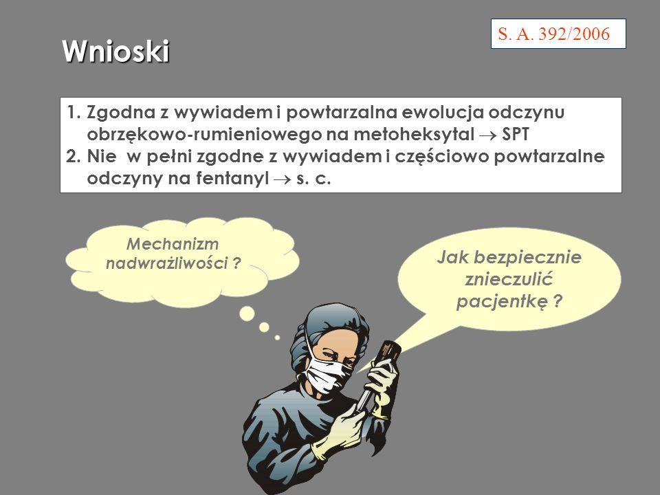 Jak bezpiecznie znieczulić pacjentkę .S. A. 392/2006 Wnioski 1.