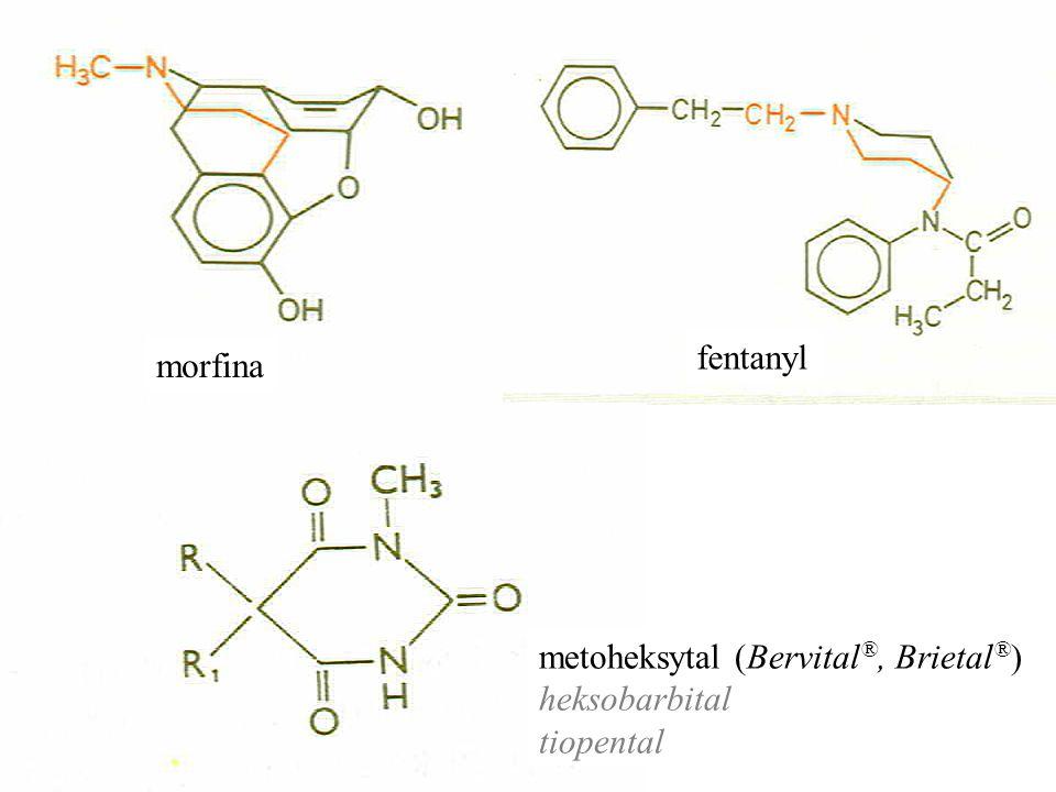morfina fentanyl metoheksytal (Bervital ®, Brietal ® ) heksobarbital tiopental