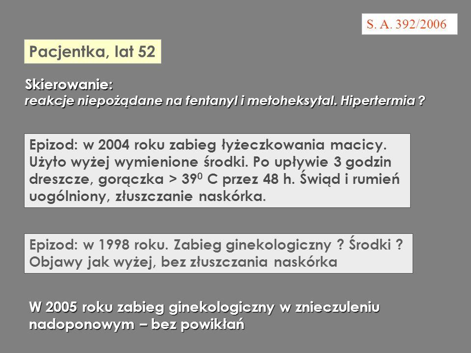 S.A. 392/2006 Epizod: w 2004 roku zabieg łyżeczkowania macicy.
