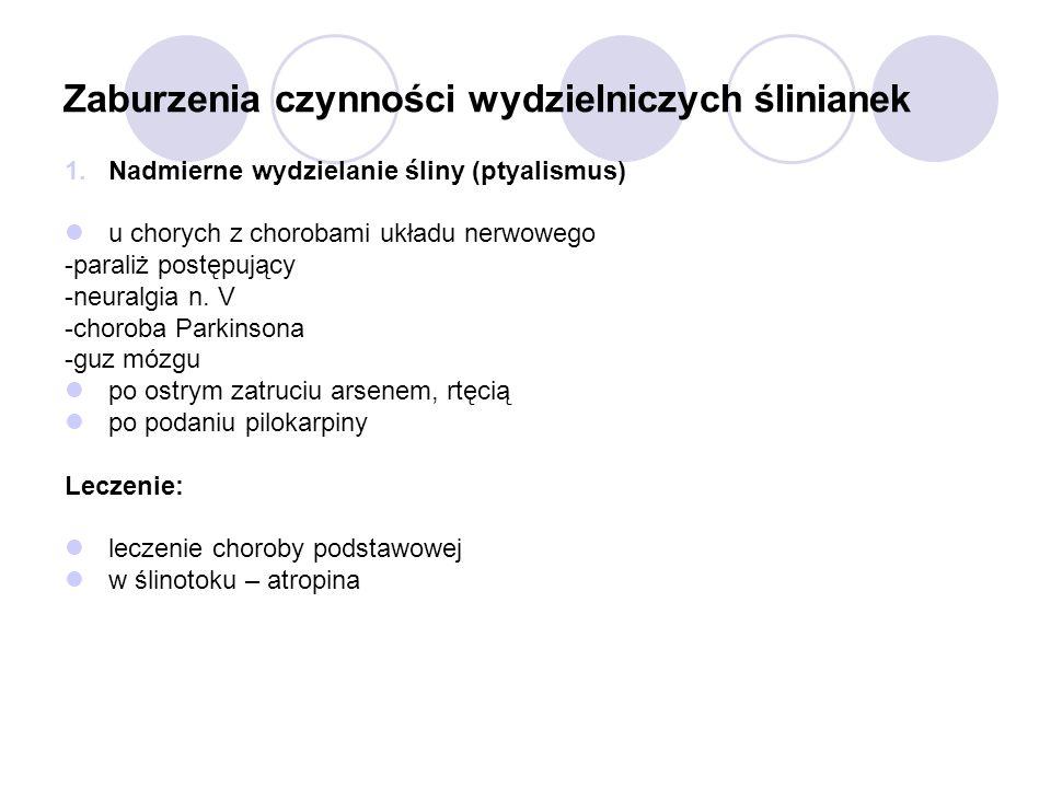 Zaburzenia czynności wydzielniczych ślinianek 1.Nadmierne wydzielanie śliny (ptyalismus) u chorych z chorobami układu nerwowego -paraliż postępujący -
