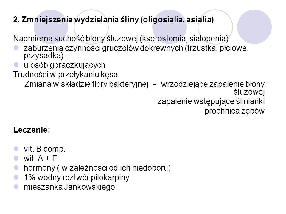 2. Zmniejszenie wydzielania śliny (oligosialia, asialia) Nadmierna suchość błony śluzowej (kserostomia, sialopenia) zaburzenia czynności gruczołów dok
