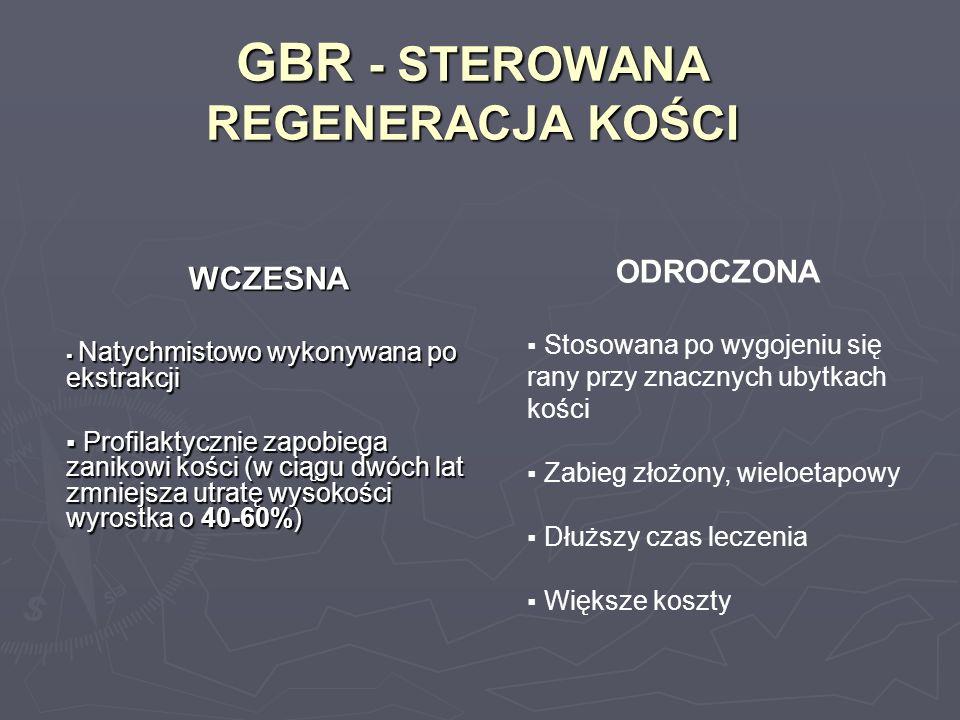 GBR - STEROWANA REGENERACJA KOŚCI WCZESNA Natychmistowo wykonywana po ekstrakcji Natychmistowo wykonywana po ekstrakcji Profilaktycznie zapobiega zani