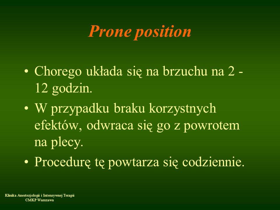 Klinika Anestezjologii i Intensywnej Terapii CMKP Warszawa Prone position Chorego układa się na brzuchu na 2 - 12 godzin. W przypadku braku korzystnyc