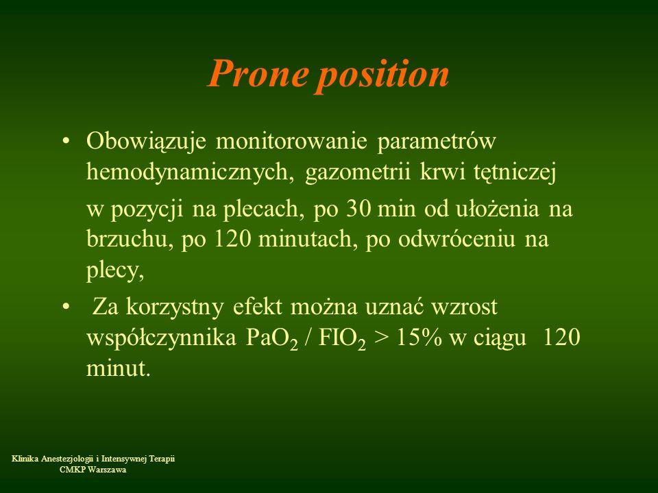 Klinika Anestezjologii i Intensywnej Terapii CMKP Warszawa Prone position Obowiązuje monitorowanie parametrów hemodynamicznych, gazometrii krwi tętnic