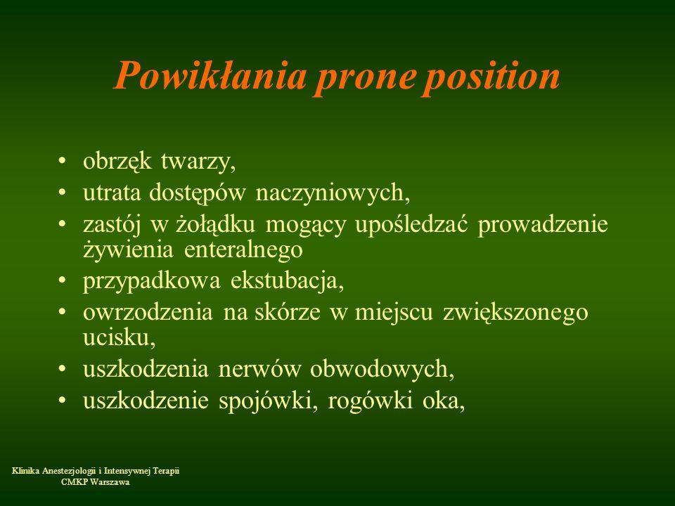 Klinika Anestezjologii i Intensywnej Terapii CMKP Warszawa Powikłania prone position obrzęk twarzy, utrata dostępów naczyniowych, zastój w żołądku mog