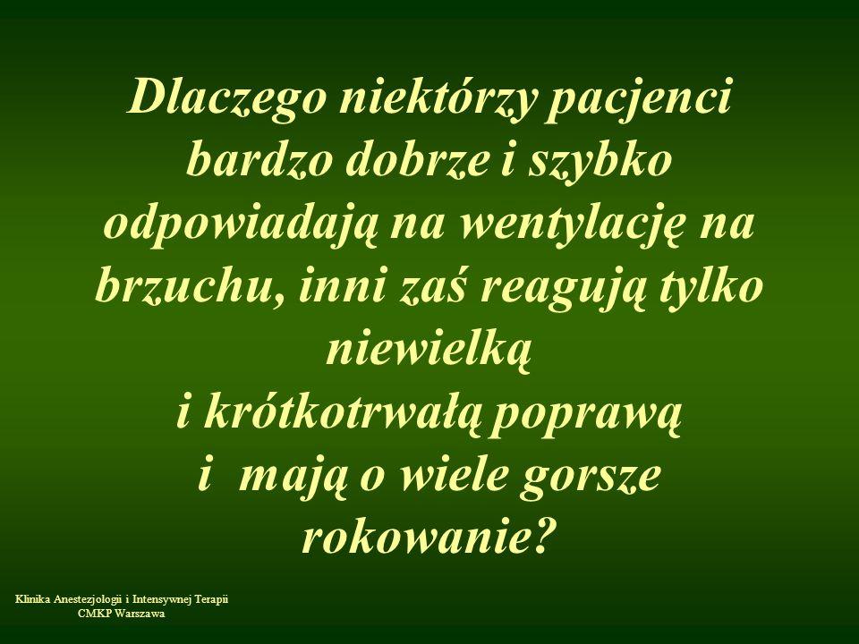 Klinika Anestezjologii i Intensywnej Terapii CMKP Warszawa Dlaczego niektórzy pacjenci bardzo dobrze i szybko odpowiadają na wentylację na brzuchu, in
