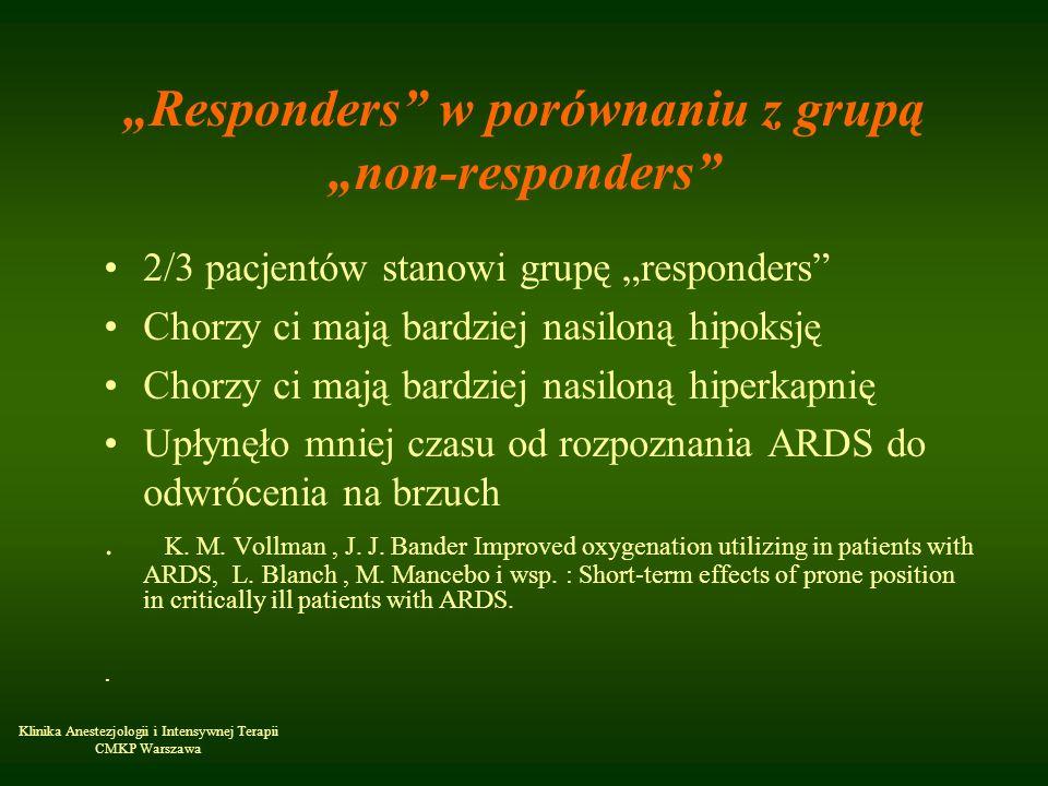 Klinika Anestezjologii i Intensywnej Terapii CMKP Warszawa Responders w porównaniu z grupą non-responders 2/3 pacjentów stanowi grupę responders Chorz