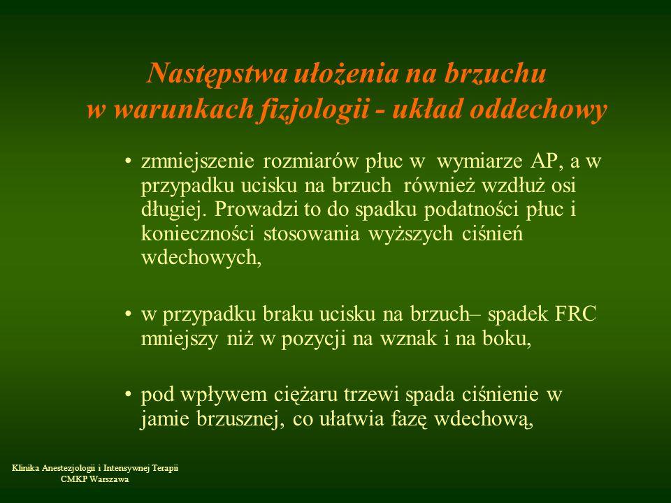 Klinika Anestezjologii i Intensywnej Terapii CMKP Warszawa Następstwa ułożenia na brzuchu w warunkach fizjologii - układ oddechowy zmniejszenie rozmia