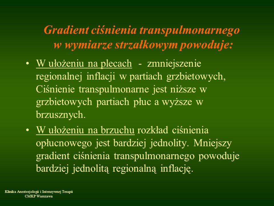 Klinika Anestezjologii i Intensywnej Terapii CMKP Warszawa Gradient ciśnienia transpulmonarnego w wymiarze strzałkowym powoduje: W ułożeniu na plecach
