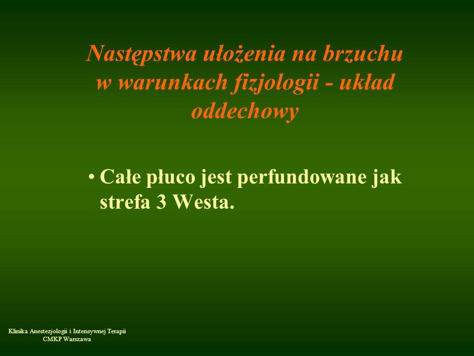 Klinika Anestezjologii i Intensywnej Terapii CMKP Warszawa Następstwa ułożenia na brzuchu w warunkach fizjologii - układ oddechowy Całe płuco jest per