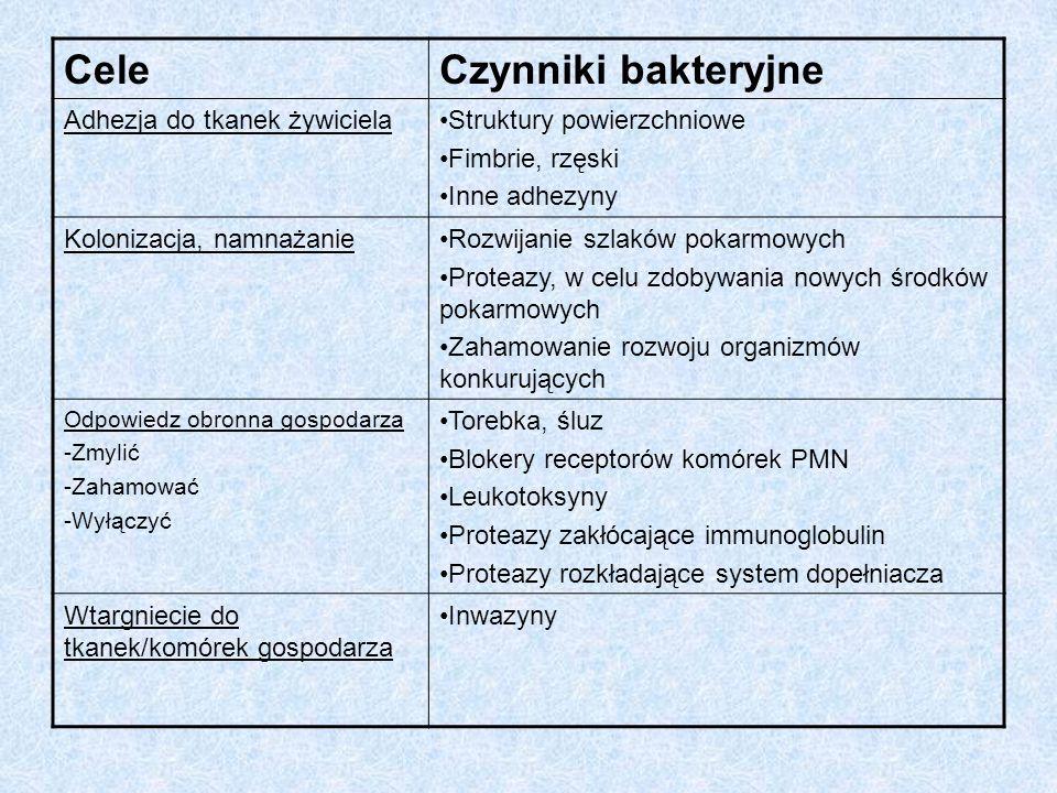 Uszkodzenie tkanek bezpośrednie Enzymy Resorpcja kości Trujące substancje Uszkodzenie tkanek pośrednie Kolagenazy Hialuronidazy, chondroitynosulfatazy Proteazy zbliżone do trypsyny LPS Kwasy lipoteichonowe Substancje składowe ścian i błon komórkowych Kwas masłowy, propionowy, indole, aminy Amoniak, H2S i inne gazowe związki siarki Reakcja zapalna organizmu jako odpowiedz na antygeny płytki nazębnej Wzrost stężenia cytokin odpowiedzialnych za reakcje zapalne-