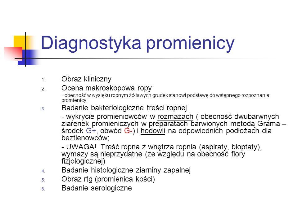Diagnostyka promienicy 1. Obraz kliniczny 2. Ocena makroskopowa ropy - obecność w wysięku ropnym żółtawych grudek stanowi podstawę do wstępnego rozpoz
