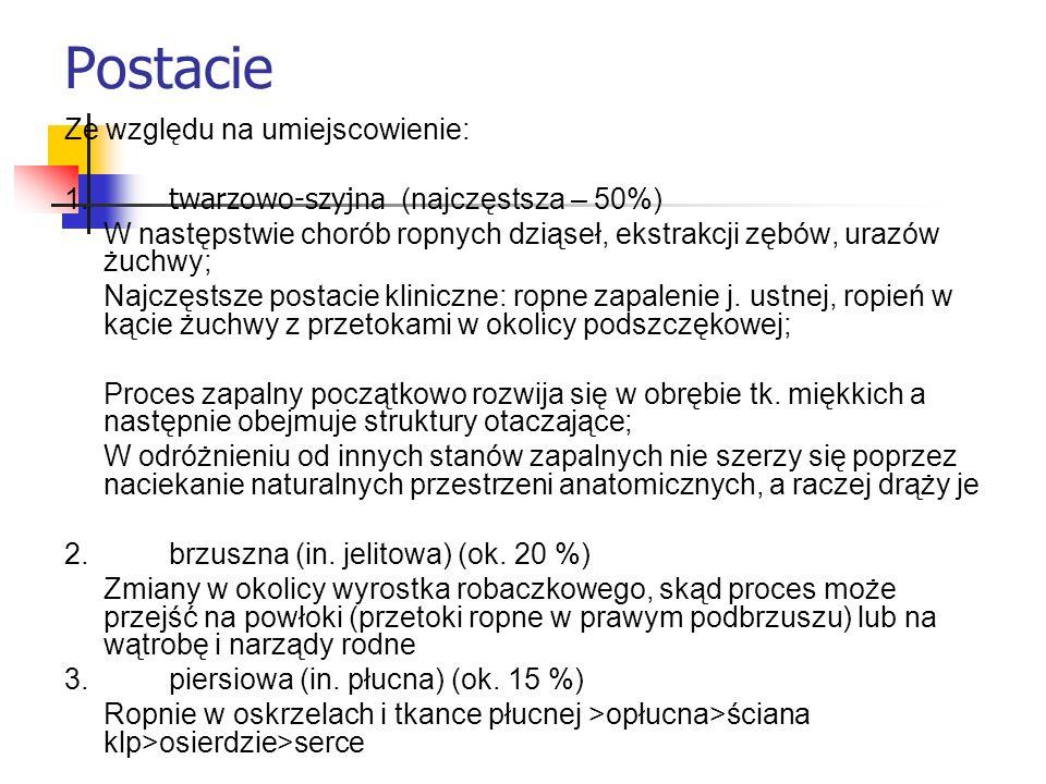 Postacie kliniczne promienicy 1.Naciekowa (naciek promieniczy – infiltratio actinomycotica) 2.
