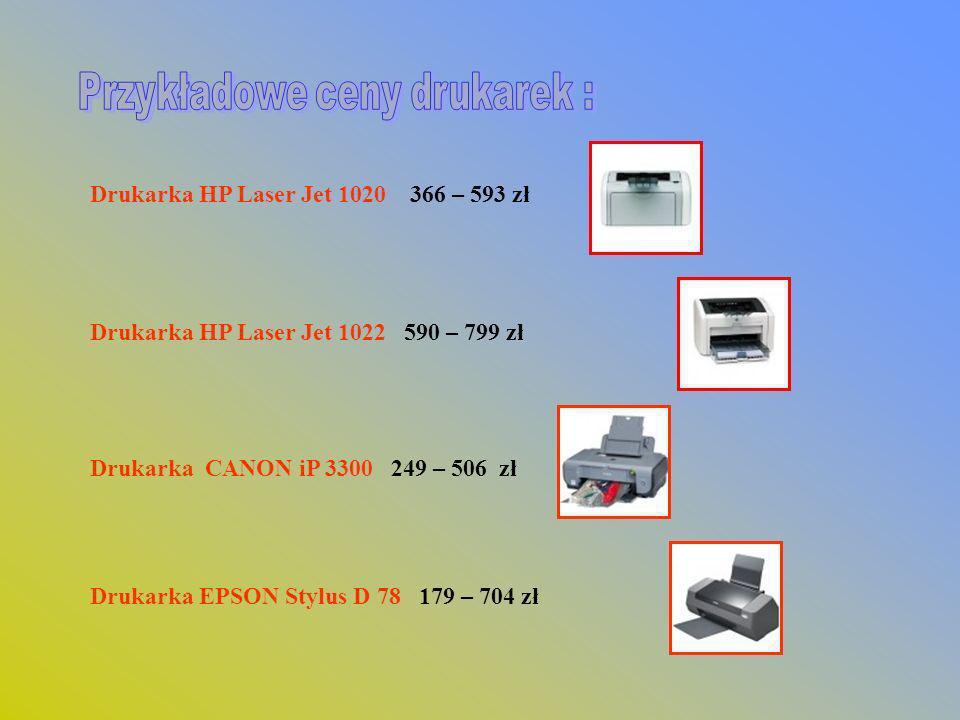 Drukarka HP Laser Jet 1020 366 – 593 zł Drukarka HP Laser Jet 1022 590 – 799 zł Drukarka CANON iP 3300 249 – 506 zł Drukarka EPSON Stylus D 78 179 – 7