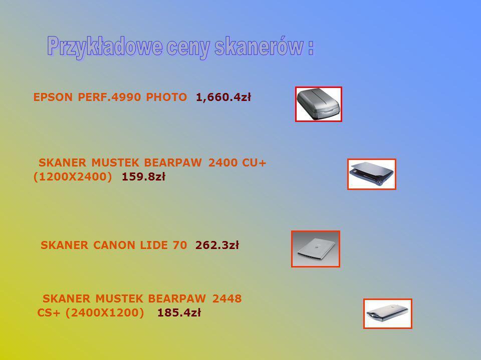 EPSON PERF.4990 PHOTO 1,660.4zł SKANER MUSTEK BEARPAW 2400 CU+ (1200X2400) 159.8zł SKANER CANON LIDE 70 262.3zł SKANER MUSTEK BEARPAW 2448 CS+ (2400X1