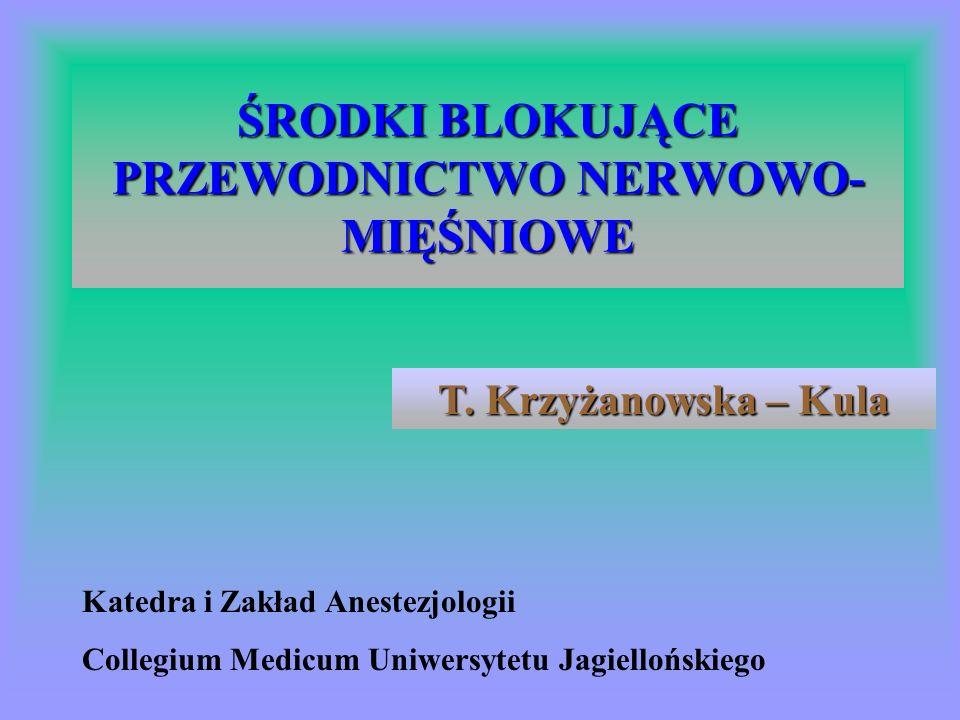 ŚRODKI BLOKUJĄCE PRZEWODNICTWO NERWOWO- MIĘŚNIOWE Katedra i Zakład Anestezjologii Collegium Medicum Uniwersytetu Jagiellońskiego T.