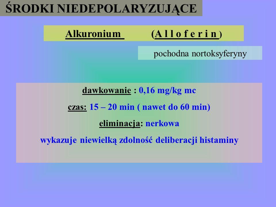 ŚRODKI NIEDEPOLARYZUJĄCE Leki: Anestetyki wziewne i miejscowe; Antybiotyki : aminoglikozydy, klindamycyna, polimyksyna, Antyarytmiki : prokainamid, ch