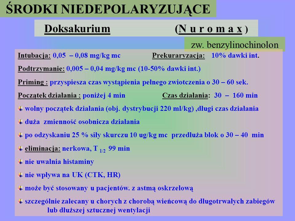ŚRODKI NIEDEPOLARYZUJĄCE cis -Atrakurium (N i m b e x) Intubacja : 0,1 : 0,4 mg/kg mc; Zwiotczenienie: 0,15 mg/kg mc Podtrzymanie : 0,03 mg/kg mc Wlew