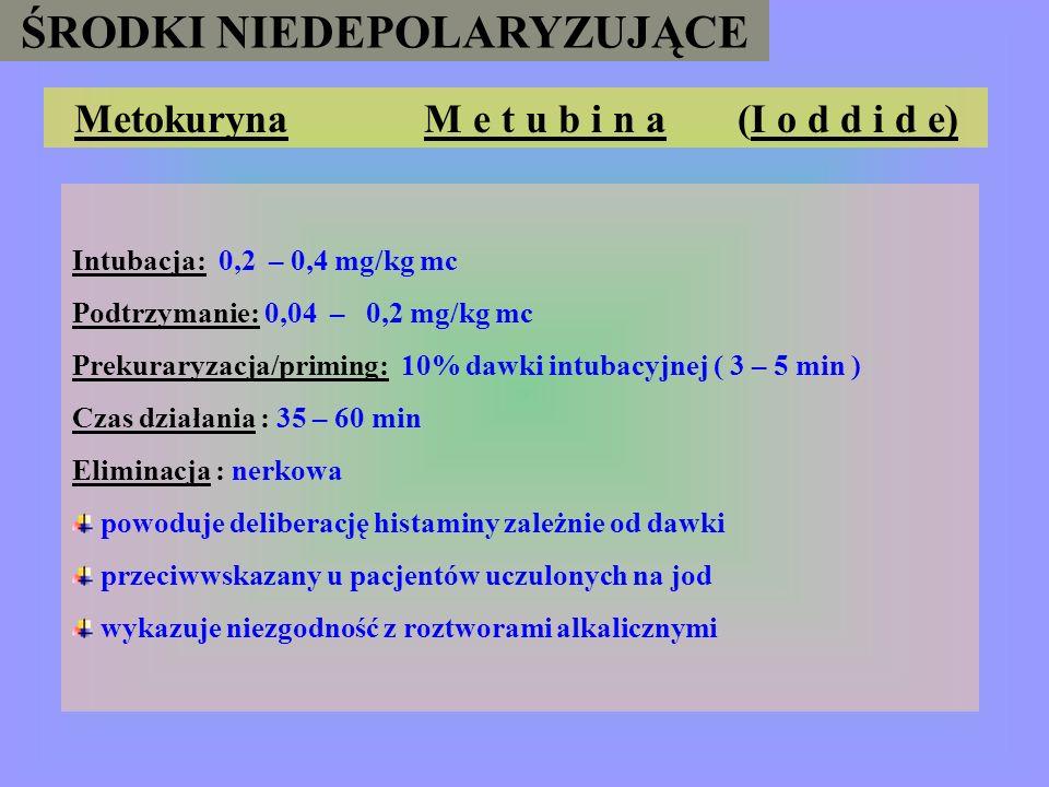 ŚRODKI NIEDEPOLARYZUJĄCE Galamina F l a x e d i l (S y n b u t i n ) Intubacja: 1 – 1,5 mg/kg mc Podtrzymanie: 0,1 – 0,75 mg/kg mc Prekuraryzacja/prim
