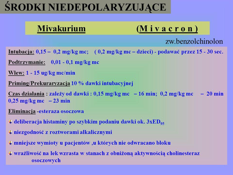 ŚRODKI NIEDEPOLARYZUJĄCE Metokuryna M e t u b i n a (I o d d i d e) Intubacja: 0,2 – 0,4 mg/kg mc Podtrzymanie: 0,04 – 0,2 mg/kg mc Prekuraryzacja/pri