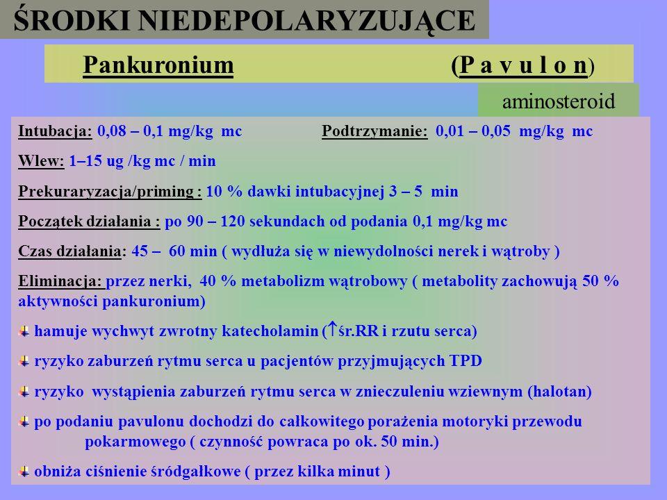 ŚRODKI NIEDEPOLARYZUJĄCE Mivakurium (M i v a c r o n ) Intubacja: 0,15 – 0,2 mg/kg mc; ( 0,2 mg/kg mc – dzieci) - podawać przez 15 - 30 sec. Podtrzyma