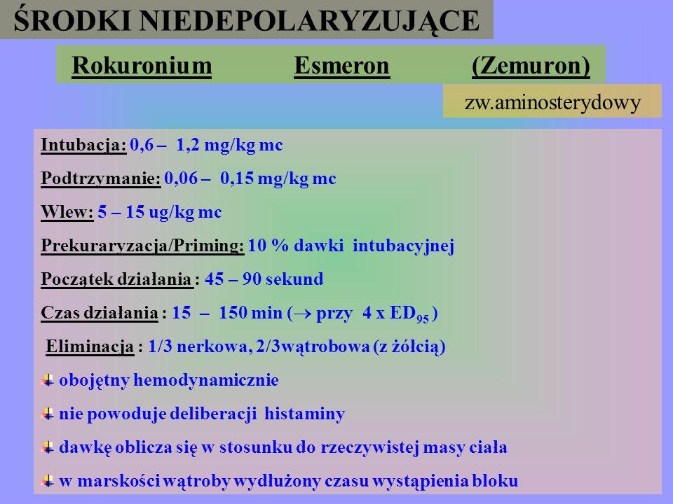 ŚRODKI NIEDEPOLARYZUJĄCE Rapakuronium (R a p l o n) aminosteroid Intubacja : 1,5 mg/kg mc Podtrzymanie : 0,5 mg/kg mc Wlew: 2,5 – 4 mg/kg mc / h Czas