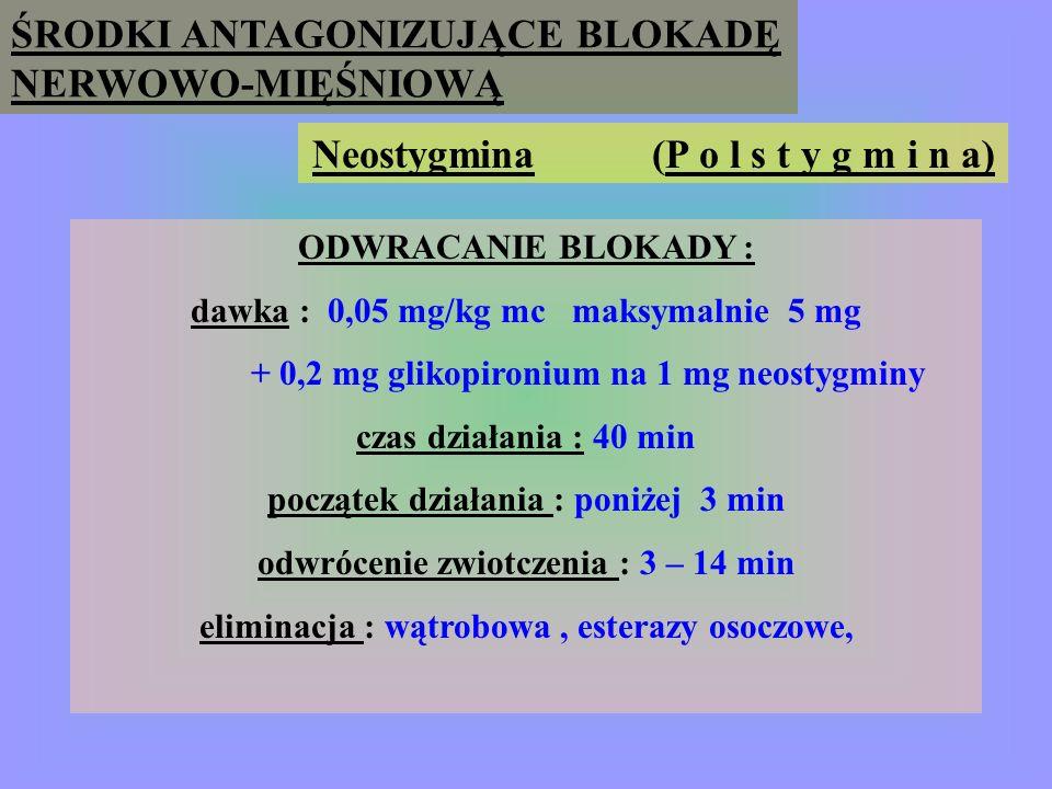 ŚRODKI ANTAGONIZUJĄCE BLOKADĘ NERWOWO-MIĘŚNIOWĄ Neostygmina (P o l s t y g m i n a) W s k a z a n i a : odwracanie blokady niedepolaryzujących środków