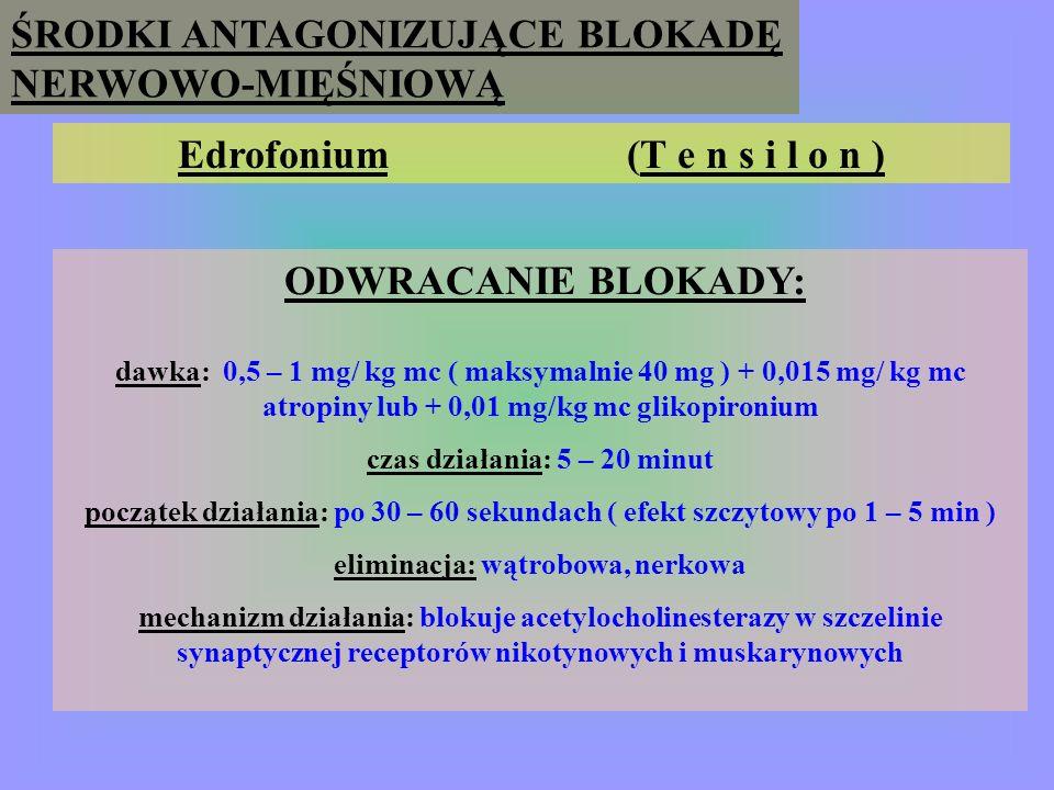 ŚRODKI ANTAGONIZUJĄCE BLOKADĘ NERWOWO-MIĘŚNIOWĄ Pirydostygmina (M e s t i n o n ) ODWRACANIE BLOKADY: dawka : 0,25 mg/kg mc ( maksymalnie 30 mg ) + 0,