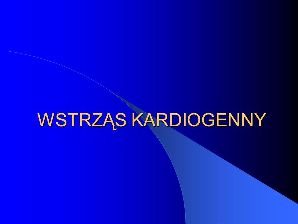 AMI + wstrząs – algorytm postępowania Wstrząs kardiogenny Czynności wstępne Cewnikowanie Koronarografia Stan stabilny Stan ciężki PTCA CABG (jeśli możliwe) (jeśli PTCA trudne) Ratunkowa PTCA IABP PCWP Wyrówanie kwasicy, hypoksii, hypowolemii Leki inotrop/wazodylat Fibrynoliza !?!