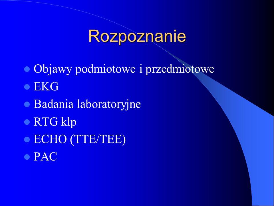 Rozpoznanie Objawy podmiotowe i przedmiotowe EKG Badania laboratoryjne RTG klp ECHO (TTE/TEE) PAC