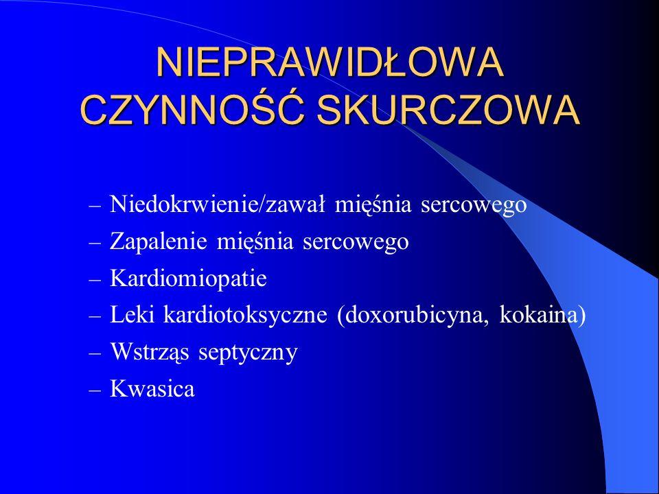 Leki inotropowe LekDroga podania/dawkaDziałanie Dopamina Ciągły wlew dożylny nerkowa < 5 g/kg/min sercowa 5-10 g/kg/min naczyniowa > 10 g/kg/min (do 60) dopam – wazodilatacyje (nerki) diurezy -adrenerg - (+) chronotropowe (+) inotropowe, wazodilatacyjne -adrenergiczne - wazokonstrykcyjne Dobutamina Ciągły wlew dożylny 2,5-10 g/kg/min (do 40) -adrenerg - (+) inotropowo Noradrenalina Ciągły wlew dożylny 8-12 g/kg/min -adrenerg - wazokonstrykcyjne -adrenerg - (+) chrono/ino Amrinon Ciągły wlew dożylny 5-10 g/kg/min komórkowego cAMP/Ca 2+ (+) inootropowo, wazodylatacyjnie