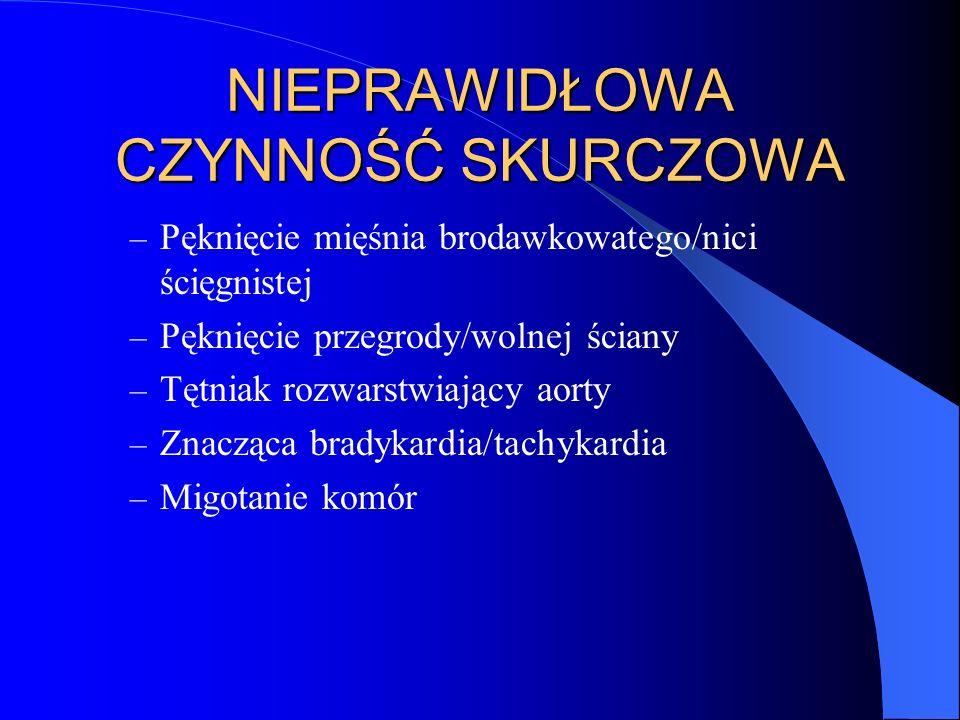 Objawy przedmiotowe Zaburzenia świadomości Skóra zimna, zasiniona, marmurkowata Tachykardia/(bradykardia) Hypotensja Tachypnoe i hiperwentylacja Oliguria Rytm cwałowy