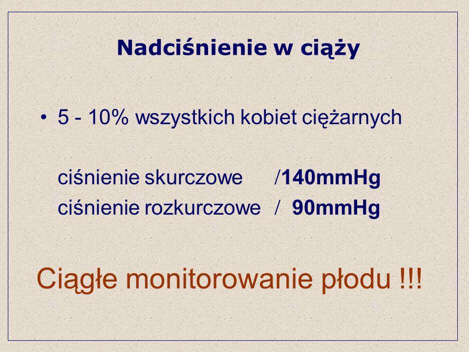 5 - 10% wszystkich kobiet ciężarnych ciśnienie skurczowe 140mmHg ciśnienie rozkurczowe 90mmHg Nadciśnienie w ciąży Ciągłe monitorowanie płodu !!!
