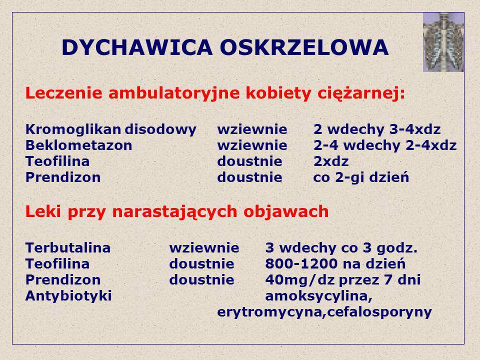 DYCHAWICA OSKRZELOWA Leczenie ambulatoryjne kobiety ciężarnej: Kromoglikan disodowywziewnie2 wdechy 3-4xdz Beklometazonwziewnie2-4 wdechy 2-4xdz Teofi